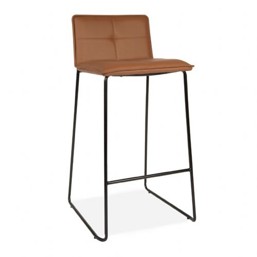 2x Brown PU Leather Barstools with Skid Legs